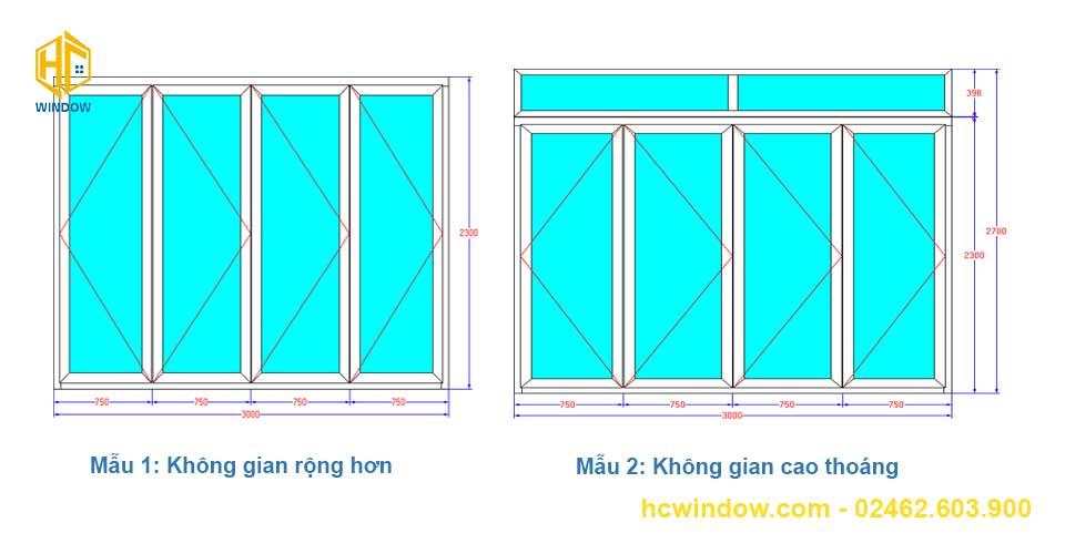 bản vẽ cad cửa đi xếp trượt 4 cánh nhôm Xingfa