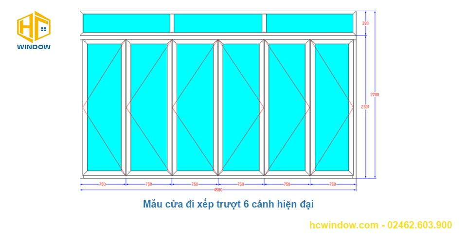 bản vẽ cad cửa đi xếp trượt 6 cánh nhôm Xingfa