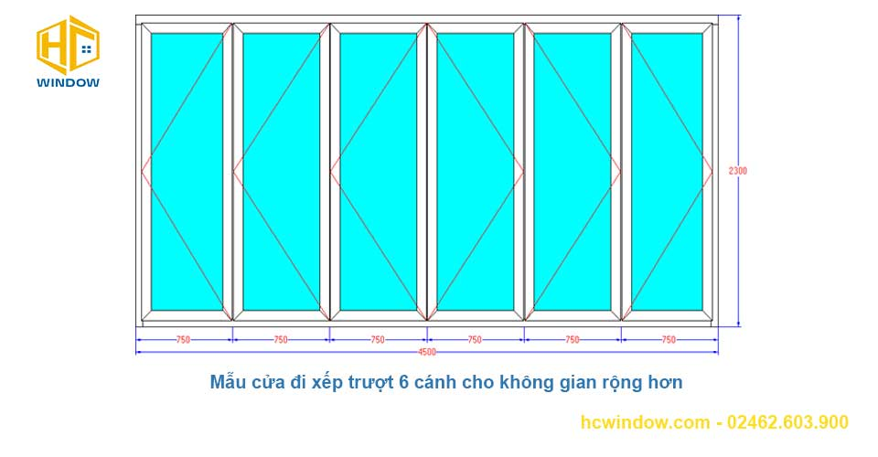 bản vẽ cad cửa đi xếp trượt 6 cánh nhôm Xingfa đẹp