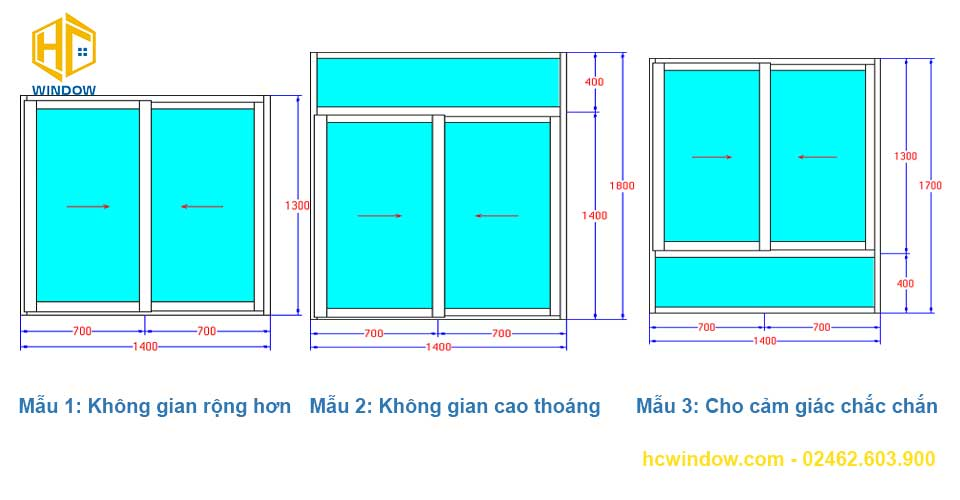 bản vẽ cad cửa sổ mở trượt 2 cánh nhôm xingfa