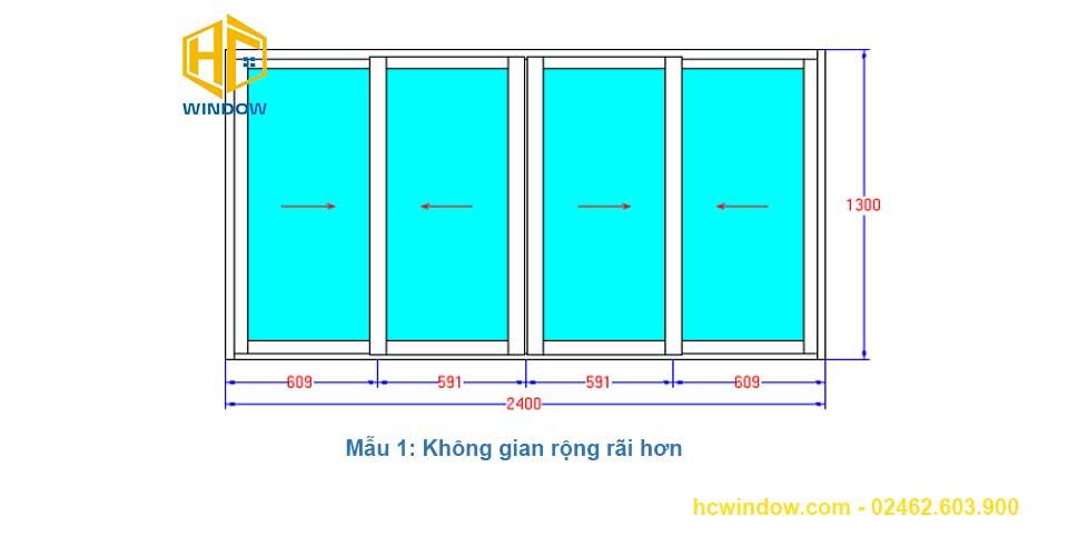 bản vẽ cad cửa sổ mở lùa 4 cánh nhôm xingfa